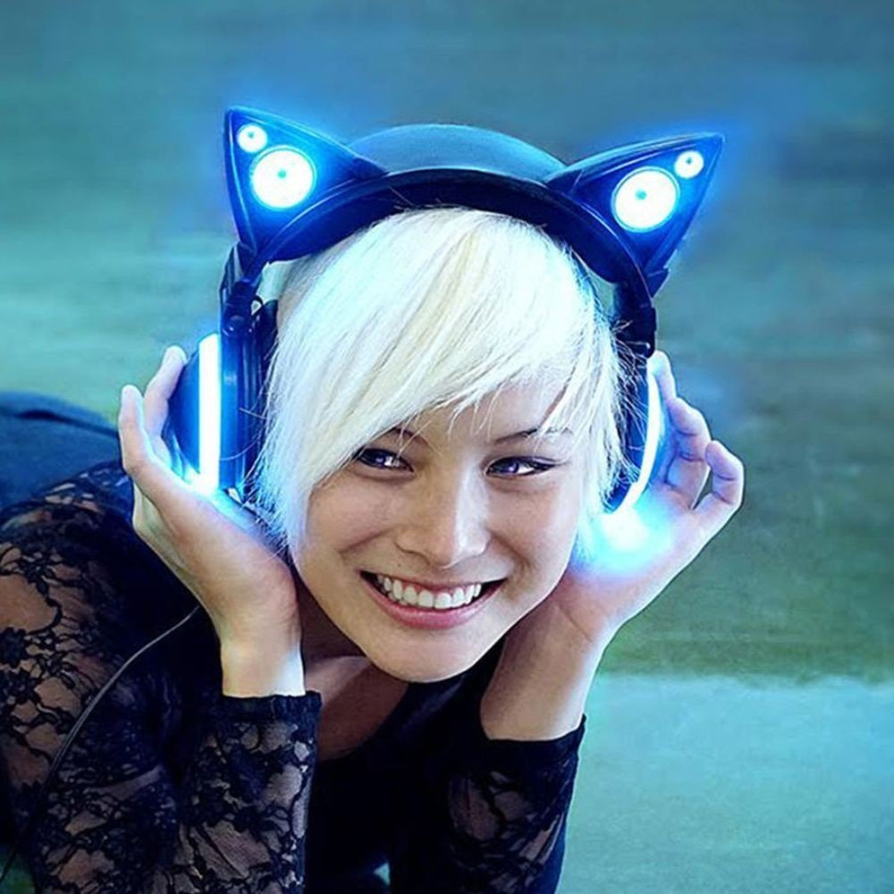Cool Anime Girl With Headphones And Cat Ears
